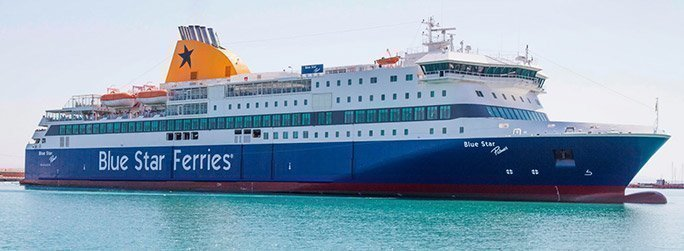 The ferry ship Blue Star Patmos belongs to the conventional vessel type