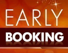 Early booking discount logo.